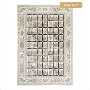 فرش ماشینی۱۲۰۰شانه۳۶۰۰تراکم طرح ماکان کرم شیراز