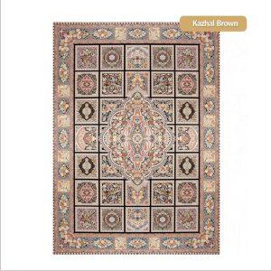 فرش ماشینی۱۲۰۰شانه۳۶۰۰تراکم طرح کژال قهوه ایی شیراز