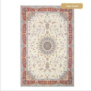 فرش ماشینی۱۲۰۰شانه۳۶۰۰تراکم طرح یاس کرم شیراز