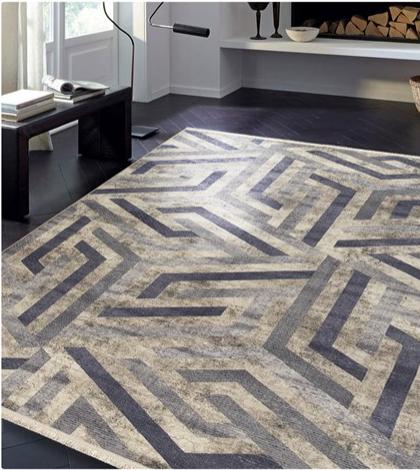 فرش محتشم طرح مدرن زمینه خاکستری کد 100469