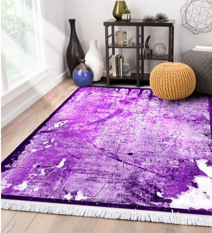 فرش محتشم طرح مدرن زمینه بنفش کد 100476