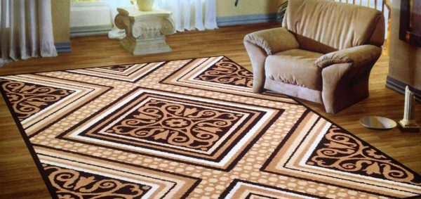 فرش ماشینی سهند کد C722.XO طرح فانتزی زمینه گردوئی