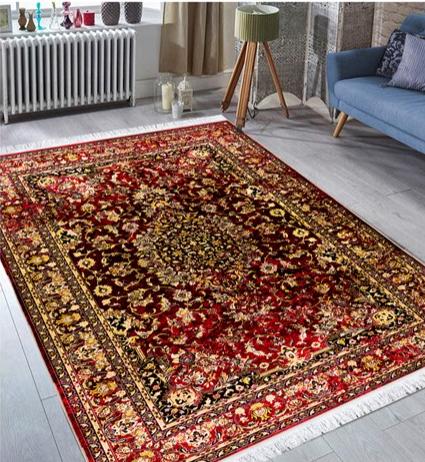 فرش محتشم طرح کهنه نما زمینه خاکستری کد 100647