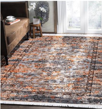 فرش محتشم طرح کهنه نما زمینه طلایی کد 100639