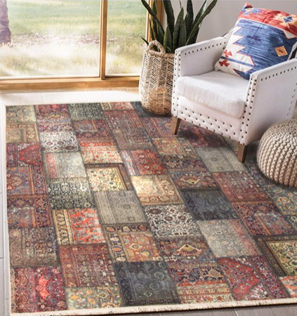 فرش محتشم طرح چهل تیکه کد 100500
