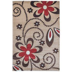 فرش ماشینی سهند کد C010.KO طرح فانتزی زمینه گردوئی
