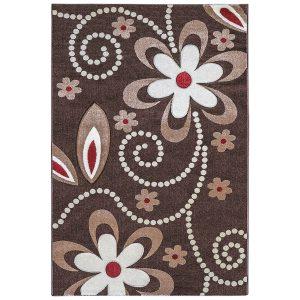 فرش ماشینی سهند کد C010.XO طرح فانتزی زمینه قهوه ای