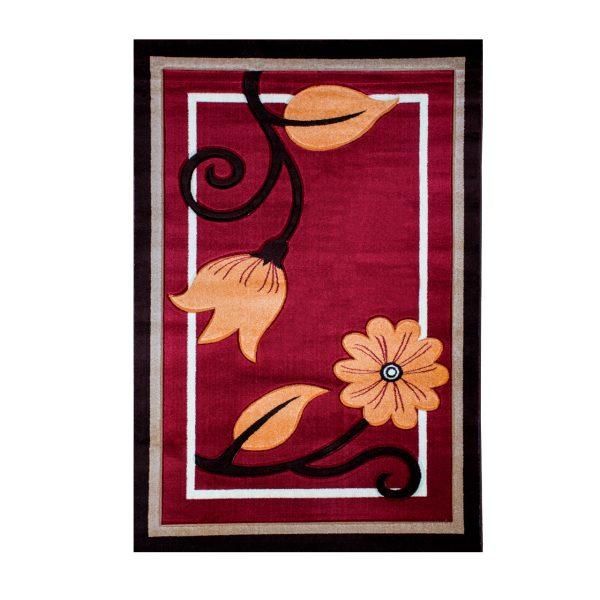 فرش ماشینی سهند طرح فانتزی رنگ عنابی کد C608SO