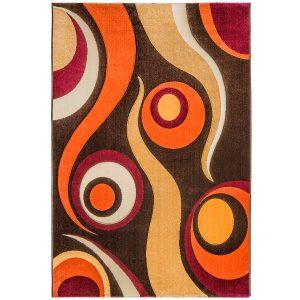 فرش ماشینی سهند کد F028.X7 طرح فانتزی زمینه قهوه ای