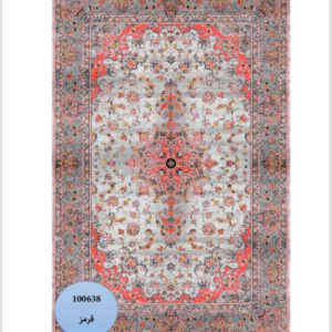 فرش محتشم طرح کهنه نما کد 100638 گل قرمز