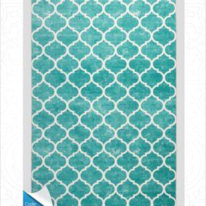 فرش محتشم طرح مدرن فیروزه ای کد 100450