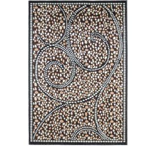 فرش ماشینی سهند طرح سنگی زمینه گردوئی کدC038XN
