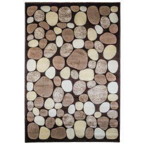 فرش ماشینی سهند طرح سنگی زمینه گردوئی کدC036XO