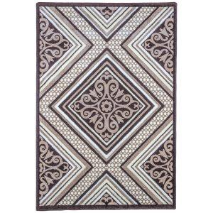فرش ماشینی سهند طرح فانتزی زمینه گردوئی کد C722XO