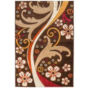 فرش ماشینی سهند کد PI05.X7 طرح فانتزی زمینه قهوه ای