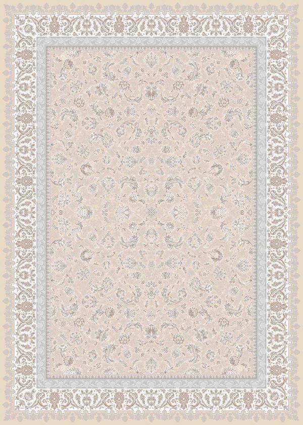 فرش ماشینی 1200 شانه طرح اطلسی رنگ بژ