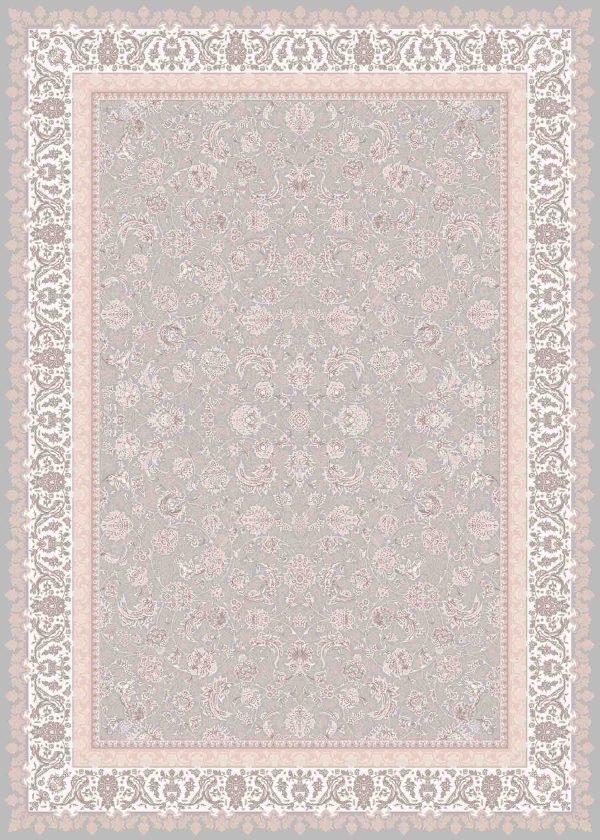 فرش ماشینی 1200 شانه طرح اطلسی رنگ فیلی