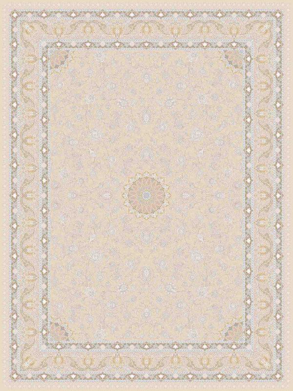 فرش ماشینی 1200 شانه طرح آیلار رنگ بژ