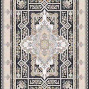 فرش ثمین طرح مدرن هولیدی خزان رنگ ذغالی کد 9