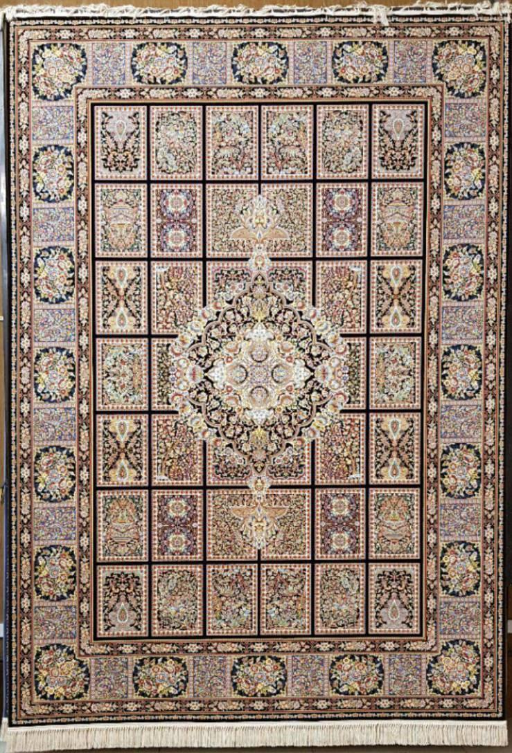 فرش ماشینی ۱۲۰۰ شانه انا طرح خشتی قهوه ایی