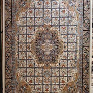 فرش ماشینی ۱۲۰۰ شانه انا طرح نیلو کرم