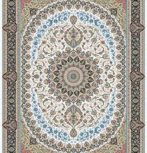 فرش ماشینی ۱۲۰۰ شانه انا طرح باغ بهشت کرم