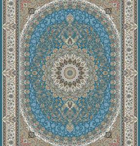 فرش ماشینی 1200 شانه انا طرح باغ بهشت فیروزه ای
