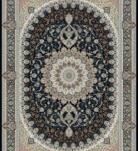 فرش ماشینی 1200 شانه انا طرح باغ بهشت سرمه ای