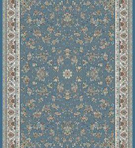 فرش ماشینی 1200 شانه انا طرح زنبق فیروزه ای