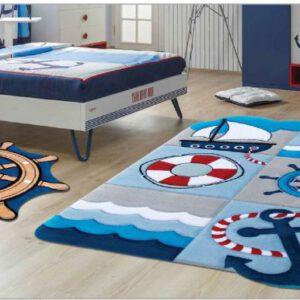 فرش کودک زرباف طرح ملوانی و سکان