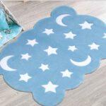 فرش کودک زرباف طرح ماه و ستاره