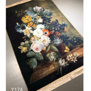 تابلو فرش ماشینی طرح گل کد Y174