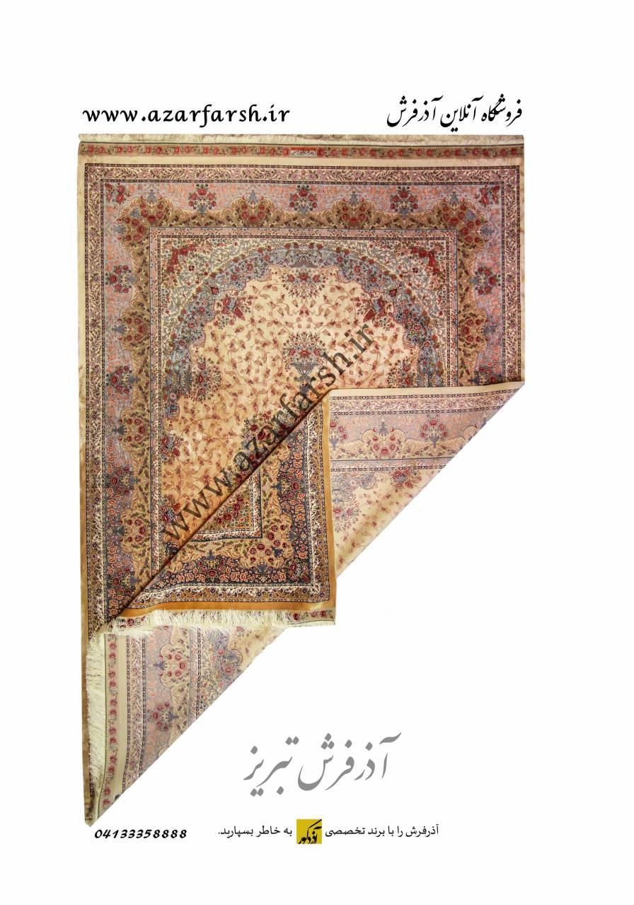 فرش ۱۵۰۰ شانه مشهد اردهال تمام ابریشم کد ۱۵۰۰۱۳