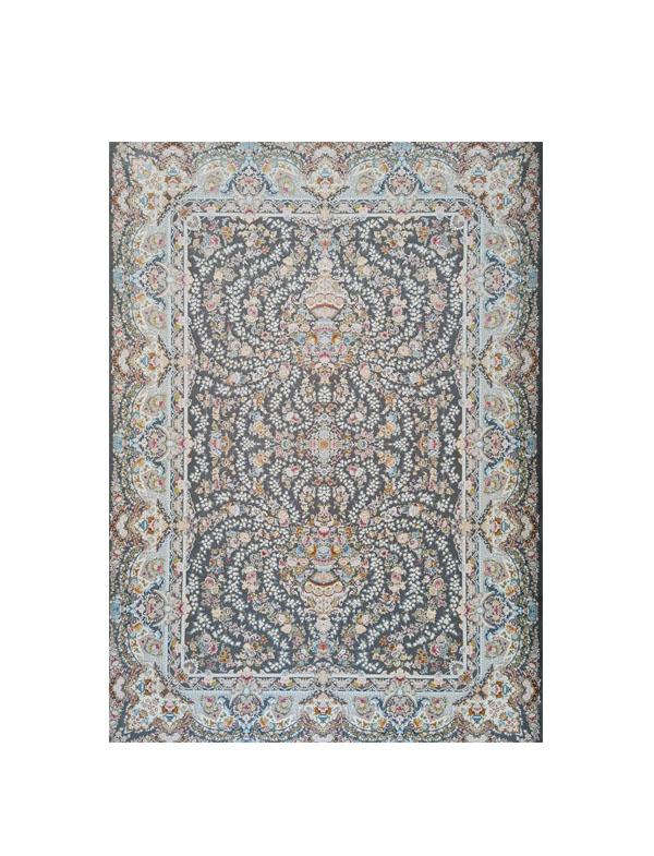 فرش ماشینی 1200 شانه رویای کمال طرح افشان درباری دودی سفید