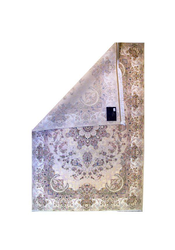 فرش ماشینی 1500 شانه خاطره کاشان یاقوت کرم صدفی